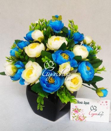 Hoa lụa, hoa giả Uyên shop, Lọ hoa trà xanh