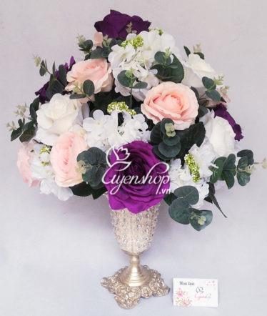 Hoa lụa, hoa giả Uyên shop, Bình hoa hồng tú cầu