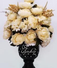 Hoa lụa, hoa giả Uyên shop, Bình hồng ren cao cấp