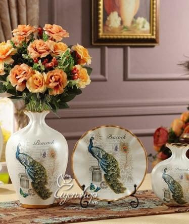 Hoa lụa, hoa giả Uyên shop, BỘ BA CHIM CÔNG MAY MẮN