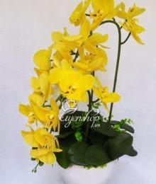 Hoa lụa, hoa giả Uyên shop, Chậu Lan vàng đẹp
