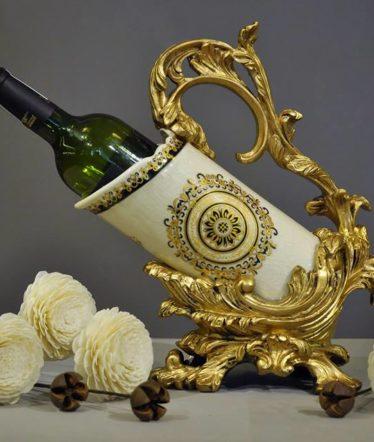 Hoa lụa, hoa giả Uyên shop, Chân để rượu cổ điển hoa văn Pháp