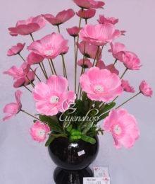 Hoa lụa, hoa giả Uyên shop, Bình hoa cánh bướm hồng