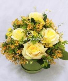 Hoa lụa, hoa giả Uyên shop, Bình hoa hồng vàng
