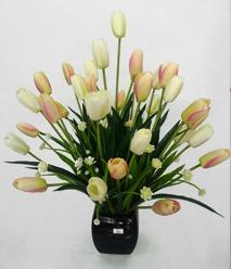 Hoa lụa, hoa giả Uyên shop, Bình hoa Tulip trắng