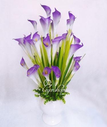 Hoa lụa, hoa giả Uyên shop, Bình hoa Rum trắng tím
