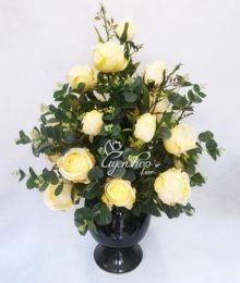 Hoa lụa, hoa giả Uyên shop, Hồng vàng cao cấp