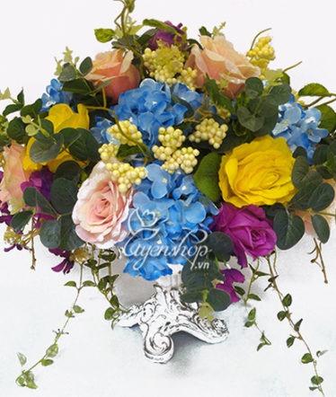 Hoa lụa, hoa giả Uyên shop, Thuyền hoa đẹp