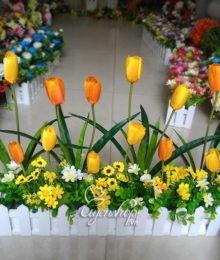 Hoa lụa, hoa giả Uyên shop, Hàng rào hoa Tulip