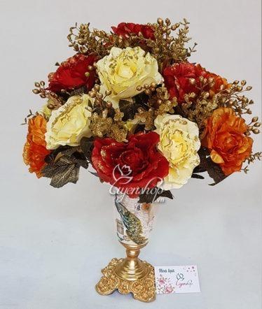Hoa lụa, hoa giả Uyên shop, Bình hoa Hồng Nhũ