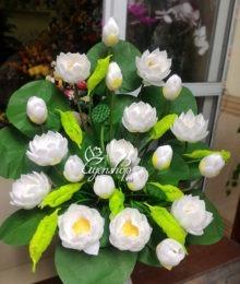 Hoa lụa, hoa giả Uyên shop, Bình Sen trắng