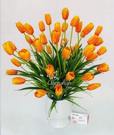 Hoa lụa, hoa giả Uyên shop, Bình tulip cam