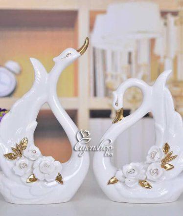 Hoa lụa, hoa giả Uyên shop, Đôi thiên nga trắng đẹp