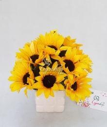 Hoa lụa, hoa giả Uyên shop, Lọ hướng dương nhỏ