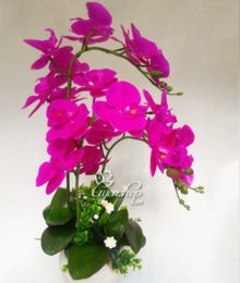 Hoa lụa, hoa giả Uyên shop, Chậu hoa lan tím