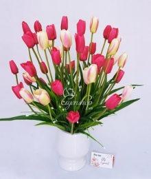 Hoa lụa, hoa giả Uyên shop, Bình Tulip hồng