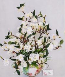 Hoa lụa, hoa giả Uyên shop, Bình Anh Đào trắng