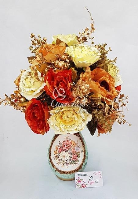 Hoa lụa, hoa giả Uyên shop, Bình hoa lụa, hoa giả trong phòng khách