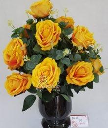 Hoa lụa, hoa giả Uyên shop, Hoa hồng nhung vàng