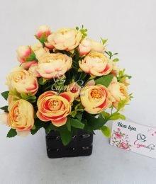 Hoa lụa, hoa giả Uyên shop, Hoa trà màu cam