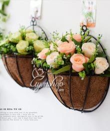 Hoa lụa, hoa giả Uyên shop, Giỏ treo tường
