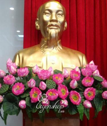 Hoa lụa, hoa giả Uyên shop, Hoa sen tượng bác Hồ