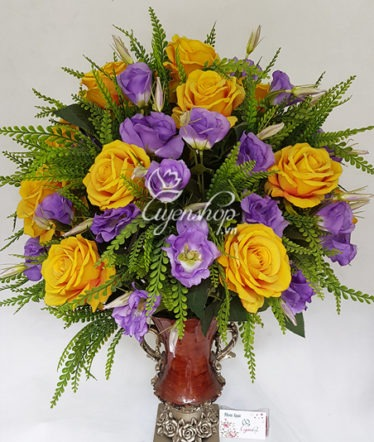 Hoa lụa, hoa giả Uyên shop, Bình hồng Lan Tường