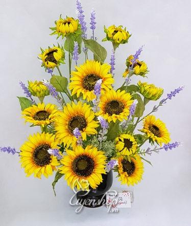 Hoa lụa, hoa giả Uyên shop, Bình hoa Hướng Dương
