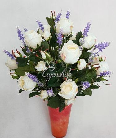 Hoa lụa, hoa giả Uyên shop, Hồng trắng tinh khôi
