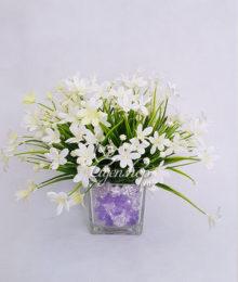 Hoa lụa, hoa giả Uyên shop, Bình hoa Thủy tiên trắng