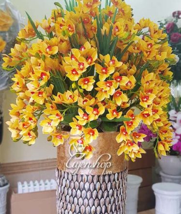 Hoa lụa, hoa giả Uyên shop, Bình Địa Lan Lớn