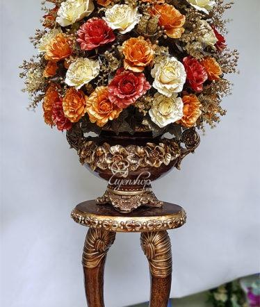 Hoa lụa, hoa giả Uyên shop, Bình hoa Ngà Voi lớn