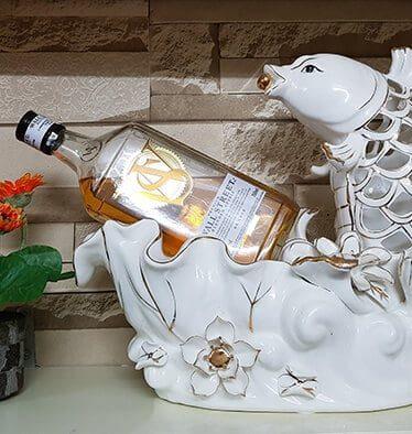 Hoa lụa, hoa giả Uyên shop, Cá chép đựng rượu vẽ vàng