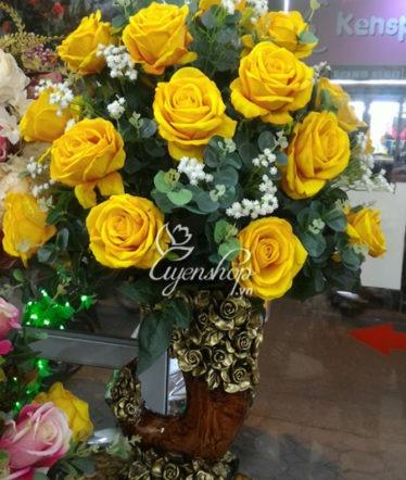 Hoa lụa, hoa giả Uyên shop, Bình Hồng Nhung vàng