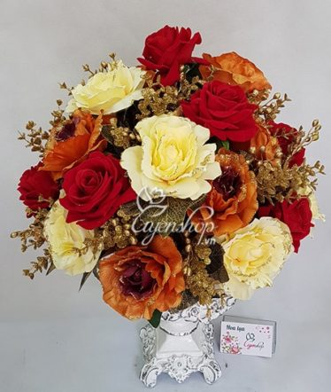 Hoa lụa, hoa giả Uyên shop, Bình Hoa Hồng Đỏ