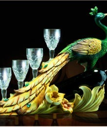 Hoa lụa, hoa giả Uyên shop, Chim Công đựng rượu