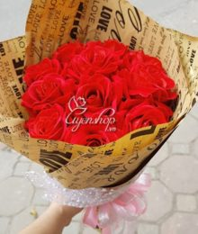 Hoa lụa, hoa giả Uyên shop, Bó hoa hồng nhung đỏ