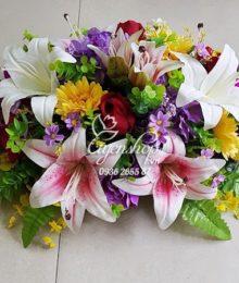 Hoa lụa, hoa giả Uyên shop, Hoa bàn họp sang trọng