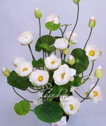 Hoa lụa, hoa giả Uyên shop, Bình hoa Sen Trắng