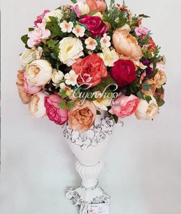 Hoa lụa, hoa giả Uyên shop, Bình hoa Trà Lớn