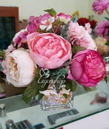 Hoa lụa, hoa giả Uyên shop, Lọ hoa để bàn xinh