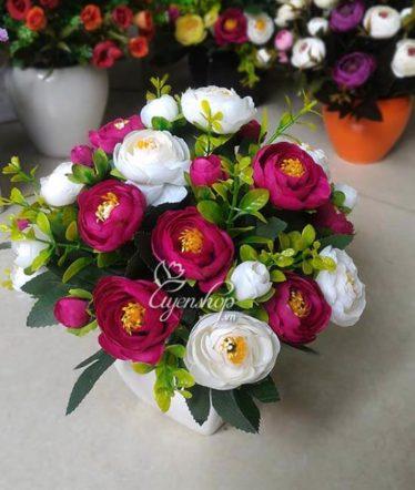 Hoa lụa, hoa giả Uyên shop, Hoa trà trắng tím