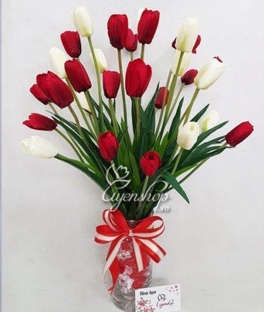 Hoa lụa, hoa giả Uyên shop, Nhẹ nhàng cùng hoa Tulip