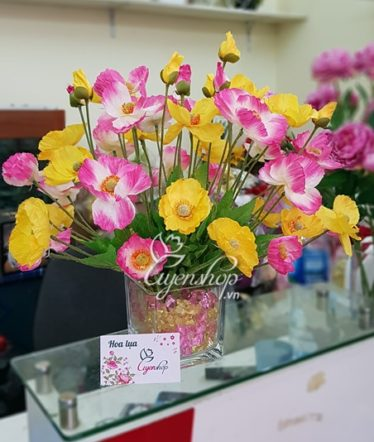 Hoa lụa, hoa giả Uyên shop, Hoa lụa để bàn