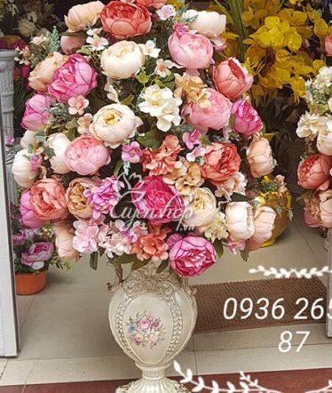 Hoa lụa, hoa giả Uyên shop, Bình Hoa sang trọng
