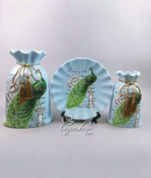 Hoa lụa, hoa giả Uyên shop, Bộ Công Xanh trang trí