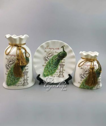 Hoa lụa, hoa giả Uyên shop, Bộ Trang Trí chim công