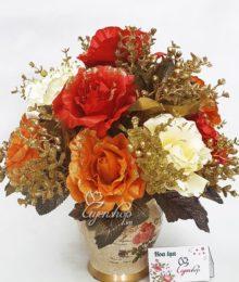 Hoa lụa, hoa giả Uyên shop, Hoa Hồng nhũ