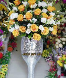 Hoa lụa, hoa giả Uyên shop, Bình Hồng Cát Tường