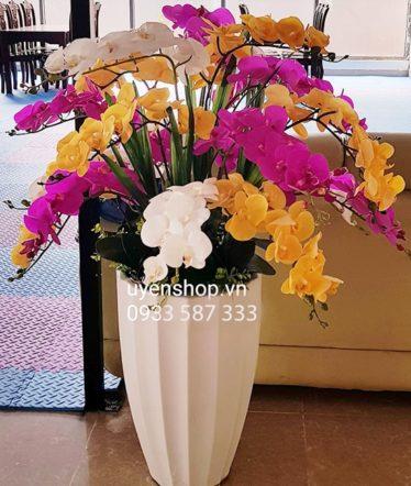 Hoa lụa, hoa giả Uyên shop, Chậu Lan Hồ Điệp